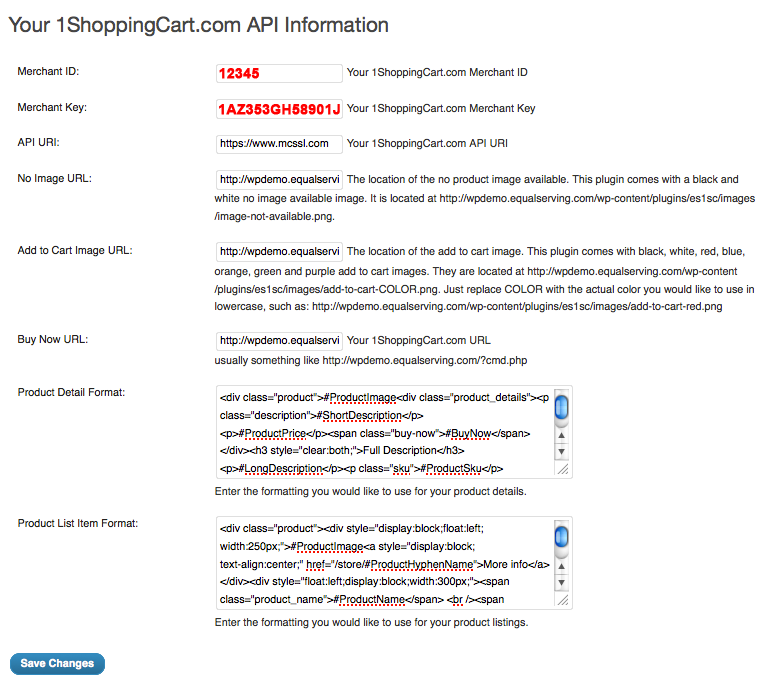 Configuration settings for the WordPress Plugin For 1ShoppingCart
