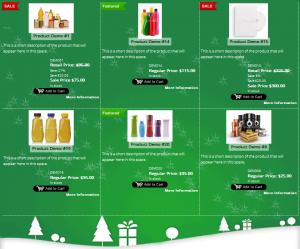 holiday product display using 1ShoppingCart plugin for Wordpress