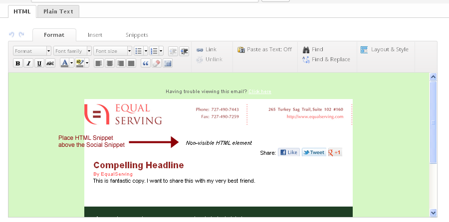 Infusionsoft inside the email editor