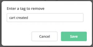 Abandoned Cart Reminder - Remove tag cart created
