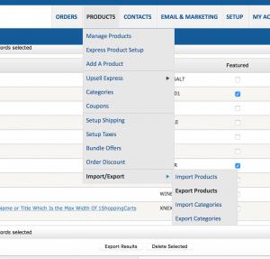 1ShoppingCart product export menu item