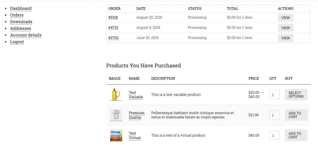 WooCommerce customer dashboard showing list of recent orders plus table or unique products purchased perfect substitute for ActiveCampaign Last Order Details.